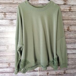 NWOT Aerie Oversized Crochet Bottom Sweatshirt XL